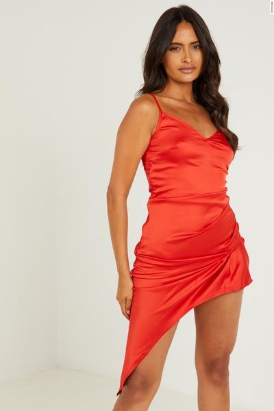 Red Satin Asymmetric Midi Dress